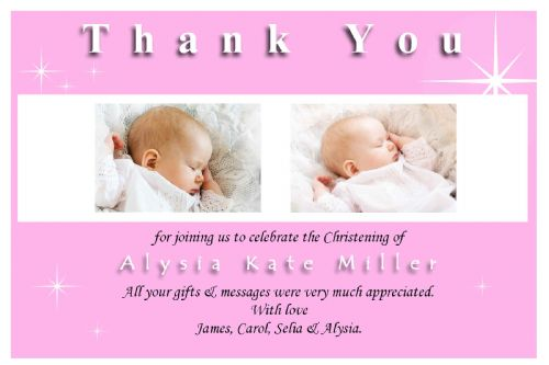 10 Personalised Pink Christening Baptism Thank You PHOTO Cards N138